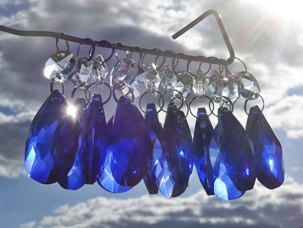 "12 Blue Oval 37 mm 1.5"" Chandelier Crystals Drops Beads Droplets Garden Window Decorations 1"