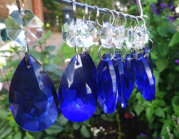 "Blue Cut Glass Oval 37 mm 1.5"" Chandelier Crystals Drops Beads Droplets Light Lamp Parts 6"
