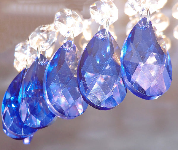 "Blue Cut Glass Oval 37 mm 1.5"" Chandelier Crystals Drops Beads Droplets Light Lamp Parts 10"