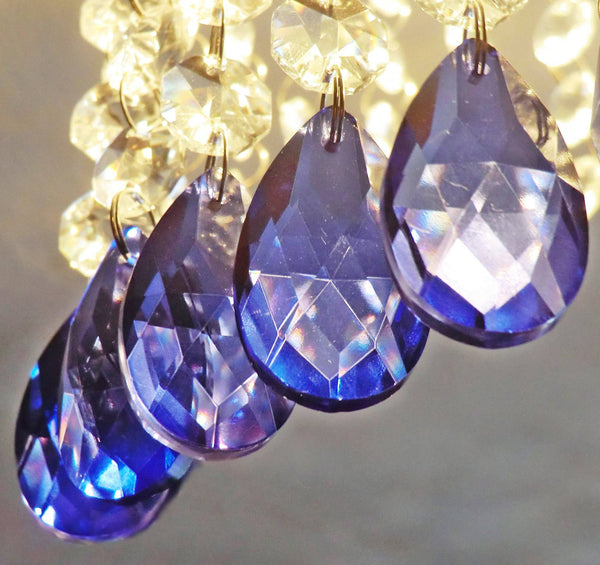 "Blue Cut Glass Oval 37 mm 1.5"" Chandelier Crystals Drops Beads Droplets Light Lamp Parts 12"