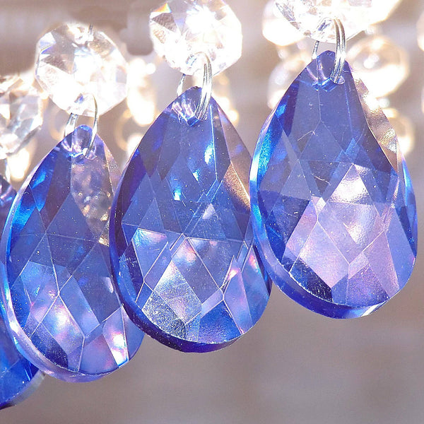 "12 Blue Oval 37 mm 1.5"" Chandelier Crystals Drops Beads Droplets Garden Window Decorations 6"