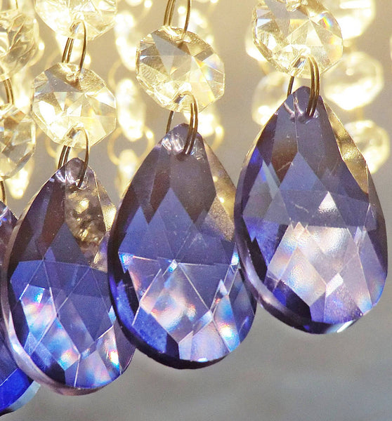 "Blue Cut Glass Oval 37 mm 1.5"" Chandelier Crystals Drops Beads Droplets Light Lamp Parts 2"