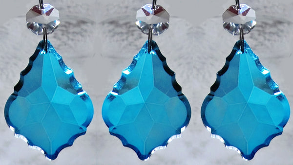 "Teal Blue Cut Glass Leaf 50 mm 2"" Chandelier Crystals Drops Beads Droplets Light Lamp Parts 7"