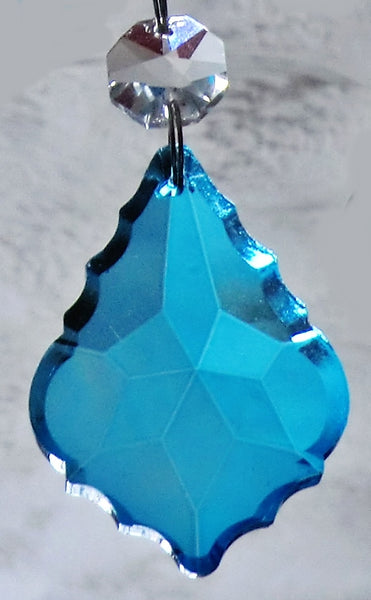 "Teal Blue Cut Glass Leaf 50 mm 2"" Chandelier Crystals Drops Beads Droplets Light Lamp Parts 3"