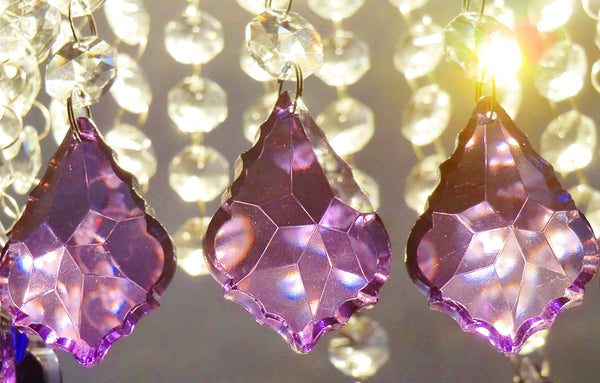 "Purple Cut Glass Leaf 50 mm 2"" Chandelier Crystals Drops Beads Droplets Light Lamp Parts 5"
