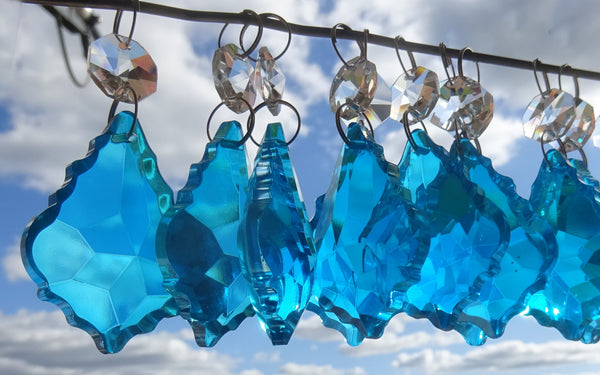 "Teal Blue Cut Glass Leaf 50 mm 2"" Chandelier Crystals Drops Beads Droplets Light Lamp Parts 11"