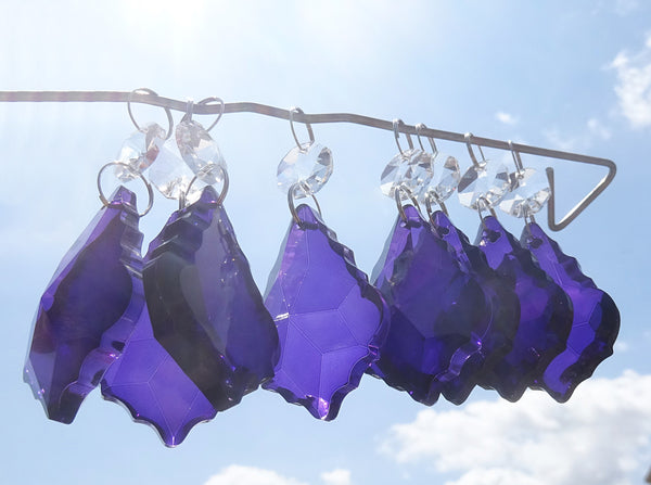 "Purple Cut Glass Leaf 50 mm 2"" Chandelier Crystals Drops Beads Droplets Light Lamp Parts 11"