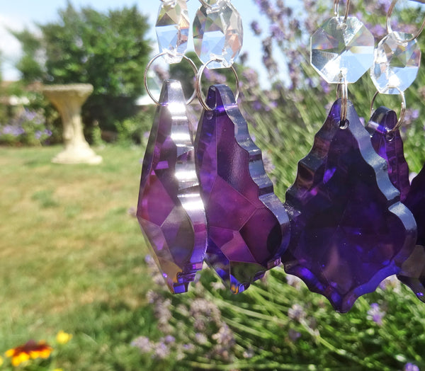 "Purple Cut Glass Leaf 50 mm 2"" Chandelier Crystals Drops Beads Droplets Light Lamp Parts 7"
