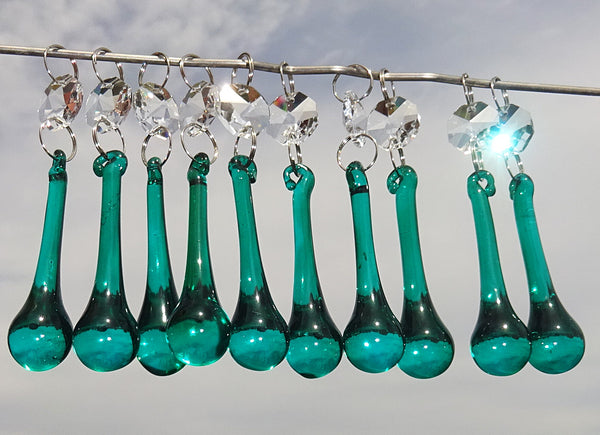 "Peacock Green Cut Glass Orbs 53 mm 2"" Chandelier Crystals Droplets Beads Drops Lamp Parts"