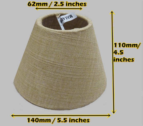"Biscuit Hessian Linen Clip On Candle Lampshade 5.5"" Chandelier Pendant Light Shade 2"