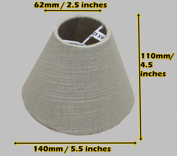 "Calico Hessian Linen Clip On Candle Lampshade 5.5"" Chandelier Pendant Light Shade 2"
