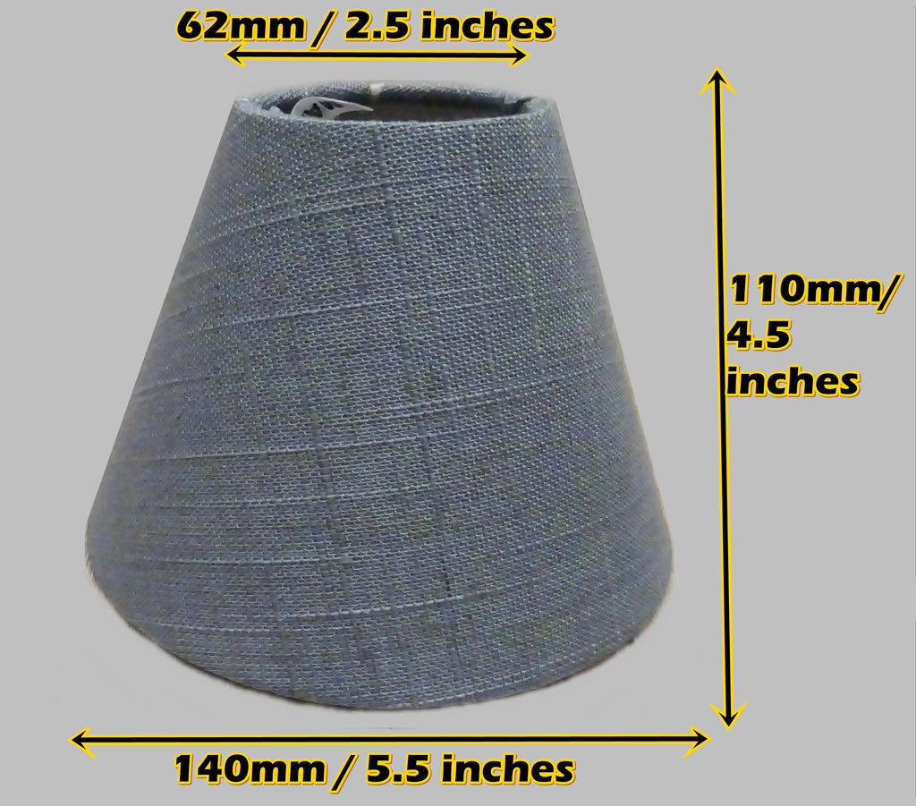 "Grey Hessian Linen Clip On Candle Lampshade 5.5"" Chandelier Pendant Light Shade 2"