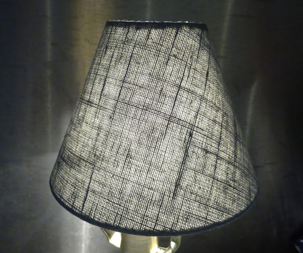 "Grey Hessian Linen Clip On Candle Lampshade 5.5"" Chandelier Pendant Light Shade 6"