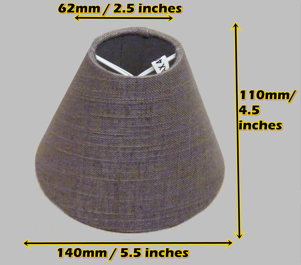 "Moccha Hessian Linen Clip On Candle Lampshade 5.5"" Chandelier Pendant Light Shade 2"