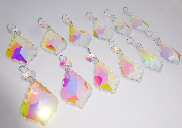 "12 Aurora Borealis Leaf 50 mm 2"" Chandelier Crystals Drops Beads Droplets Christmas Wedding Decorations 5"