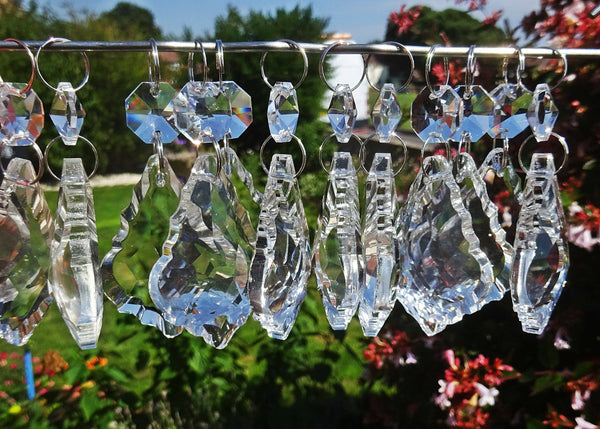 "1 Clear Cut Glass Leaf 50 mm 2"" Chandelier Crystals Drops Beads Transparent Droplets"
