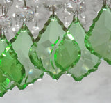 "Emerald Green Cut Glass Leaf 50 mm 2"" Chandelier Crystals Drops Beads Droplets 2"