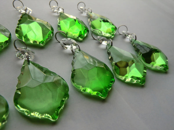 "Emerald Green Cut Glass Leaf 50 mm 2"" Chandelier Crystals Drops Beads Droplets 9"