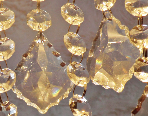 5 Clear Cut Glass Leaf 50 mm / 2 inch Chandelier Crystals Drops Pendalogues Beads Transparent Droplets Prisms 5