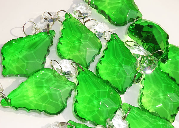 "Emerald Green Cut Glass Leaf 50 mm 2"" Chandelier Crystals Drops Beads Droplets 6"