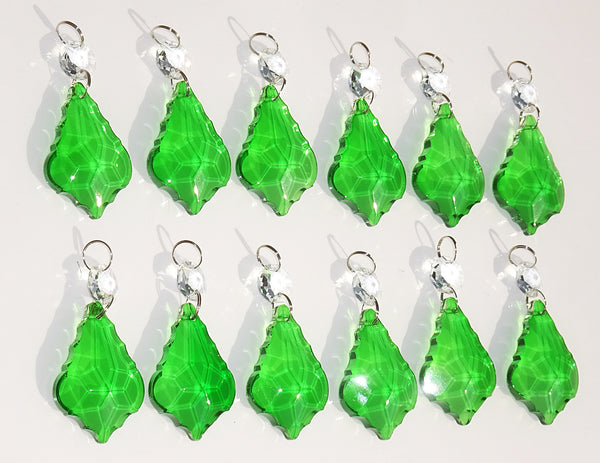 "12 Emerald Green Leaf 50 mm 2"" Chandelier Crystals Drops Beads Droplets Christmas Wedding Decorations 9"