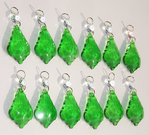 "12 Emerald Green Leaf 50 mm 2"" Chandelier Crystals Drops Beads Droplets Christmas Wedding Decorations 3"