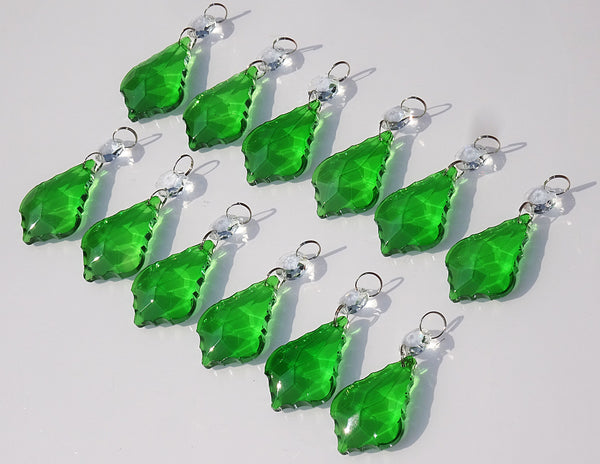 "12 Emerald Green Leaf 50 mm 2"" Chandelier Crystals Drops Beads Droplets Christmas Wedding Decorations 7"