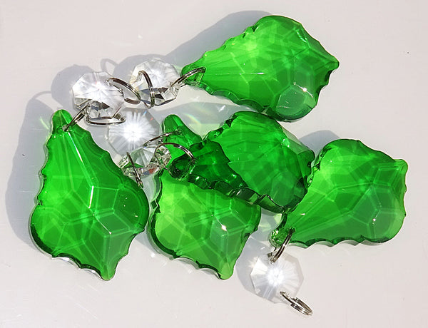 "Emerald Green Cut Glass Leaf 50 mm 2"" Chandelier Crystals Drops Beads Droplets 3"