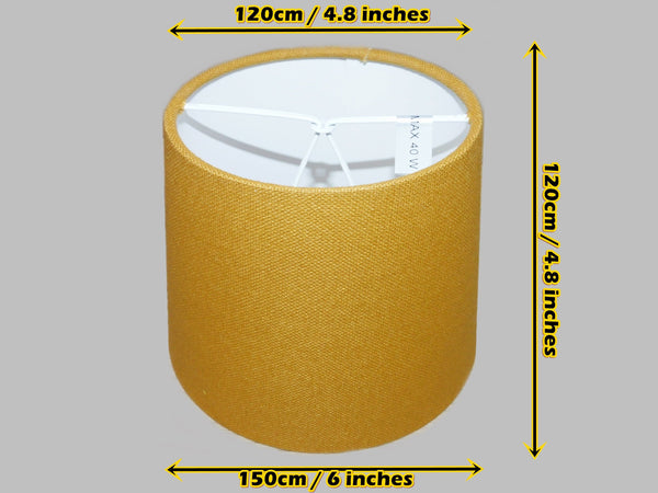 "Mustard Gold Hessian Linen Clip On Candle Drum Lampshade 6"" Chandelier Pendant Shade 1"