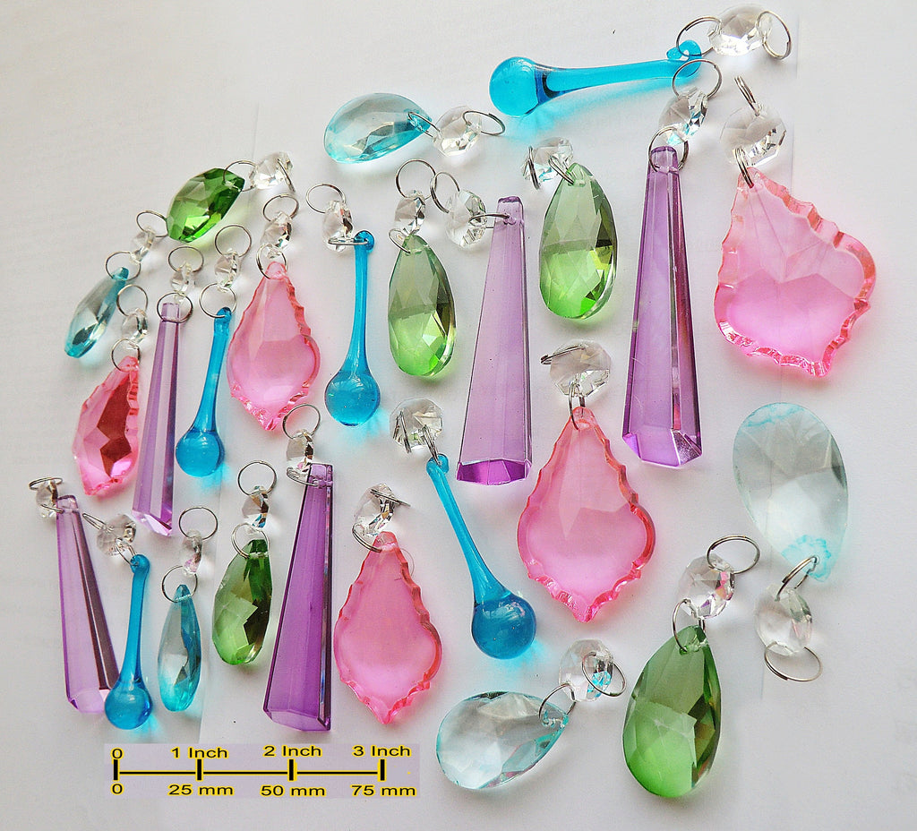 25 Chandelier Drops Vibrant Pastel Colours Crystals Beads Prisms Mix Cut Glass Hanging Pendant Droplets 1
