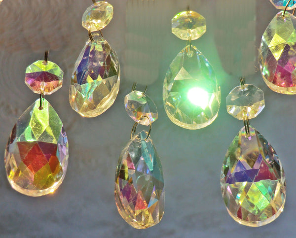 "Aurora Borealis 37 mm 1.5"" Oval Chandelier Cut Glass Crystals Drops Beads Charms AB Droplets 7"