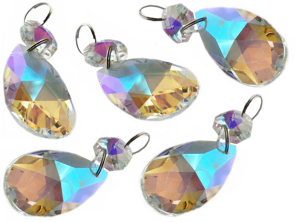 "Aurora Borealis 37 mm 1.5"" Oval Chandelier Cut Glass Crystals Drops Beads AB Droplets 4"