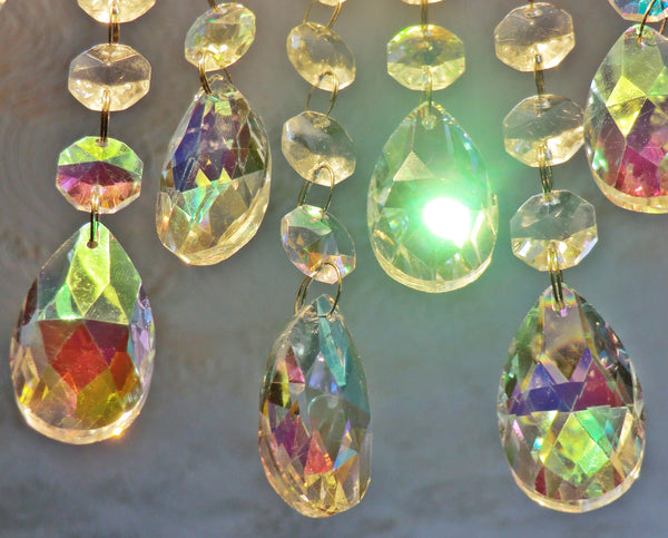 "12 Aurora Borealis AB Oval 37mm 1.5"" Chandelier Crystals Drops Beads Droplets Christmas Decorations"