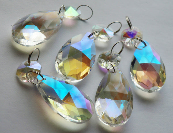 "Aurora Borealis 37 mm 1.5"" Oval Chandelier Cut Glass Crystals Drops Beads AB Droplets 3"