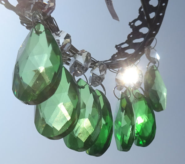 "Emerald Green Cut Glass Oval 37 mm 1.5"" Chandelier Crystals Drops Beads Droplets 8"