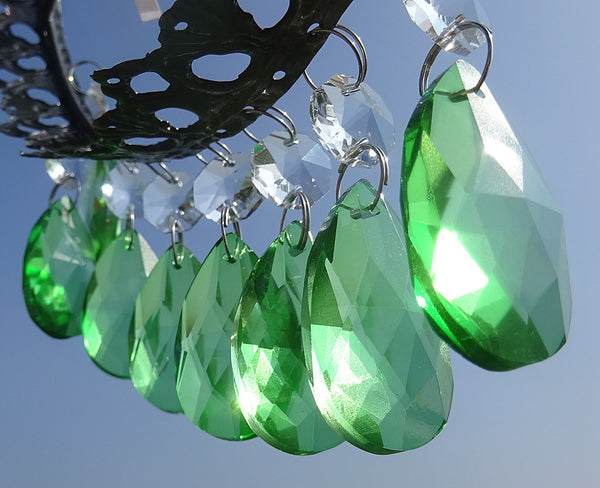"Emerald Green Cut Glass Oval 37 mm 1.5"" Chandelier Crystals Drops Beads Droplets 12"