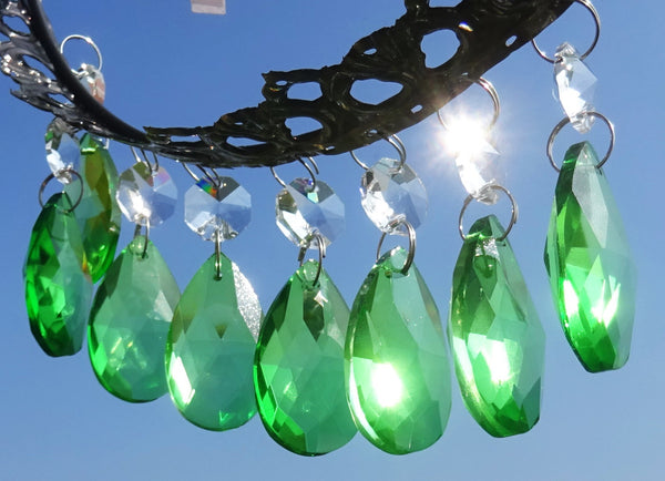 "12 Emerald Green Oval 37 mm 1.5"" Chandelier Crystals Drops Beads Droplets Christmas Wedding Decorations 4"