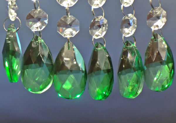 "12 Emerald Green Oval 37 mm 1.5"" Chandelier Crystals Drops Beads Droplets Christmas Wedding Decorations 8"