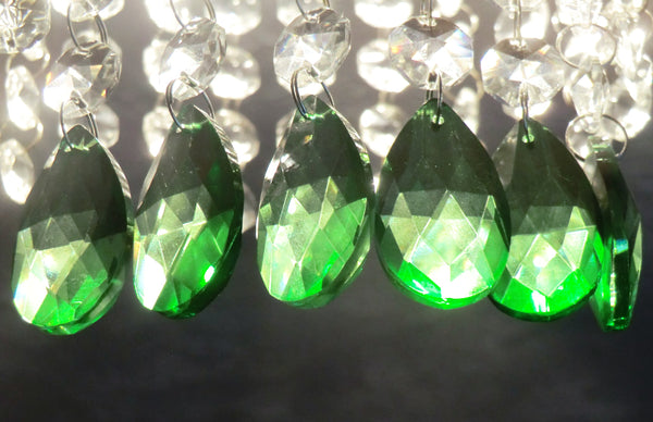 "12 Emerald Green Oval 37 mm 1.5"" Chandelier Crystals Drops Beads Droplets Christmas Decorations"