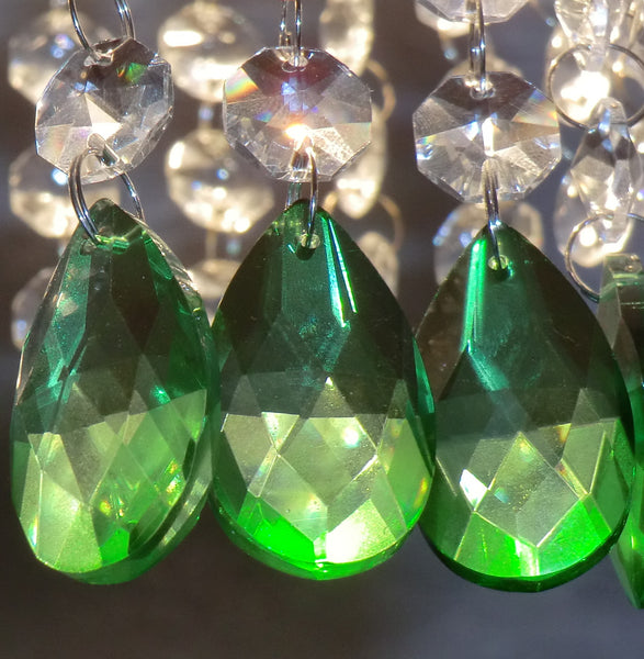 "Emerald Green Cut Glass Oval 37 mm 1.5"" Chandelier Crystals Drops Beads Droplets 3"