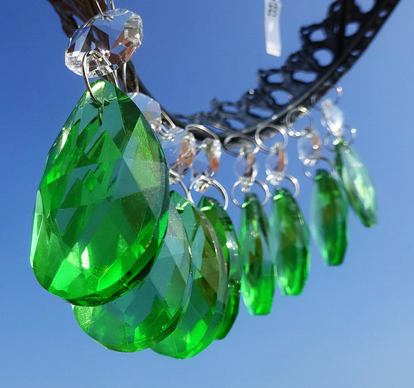 "Emerald Green Cut Glass Oval 37 mm 1.5"" Chandelier Crystals Drops Beads Droplets 10"