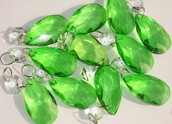 "Emerald Green Cut Glass Oval 37 mm 1.5"" Chandelier Crystals Drops Beads Droplets 9"