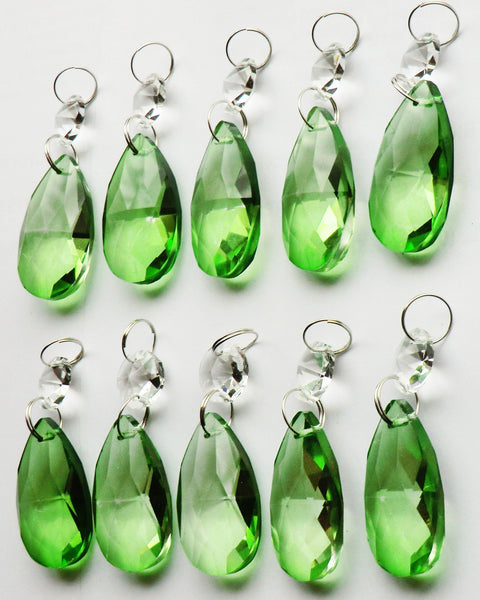 "Emerald Green Cut Glass Oval 37 mm 1.5"" Chandelier Crystals Drops Beads Droplets 11"