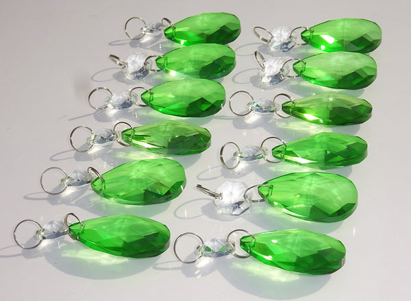"12 Emerald Green Oval 37 mm 1.5"" Chandelier Crystals Drops Beads Droplets Christmas Wedding Decorations 12"
