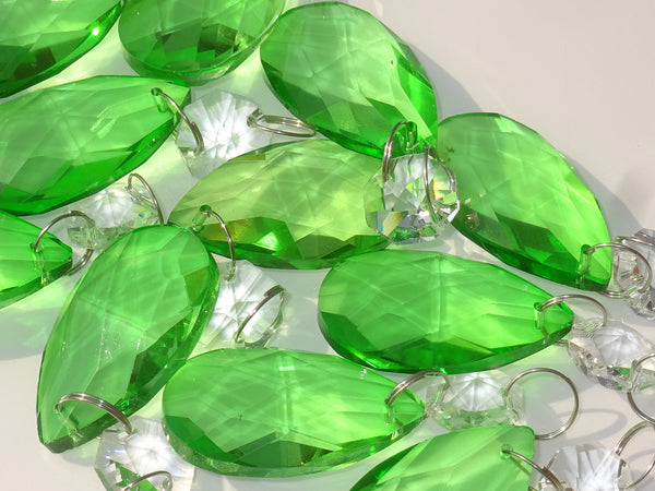"12 Emerald Green Oval 37 mm 1.5"" Chandelier Crystals Drops Beads Droplets Christmas Wedding Decorations 5"