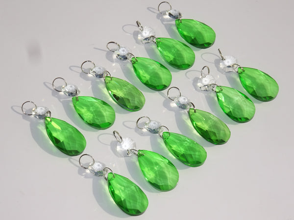 "12 Emerald Green Oval 37 mm 1.5"" Chandelier Crystals Drops Beads Droplets Christmas Wedding Decorations 9"
