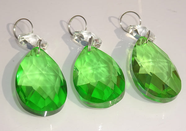 "Emerald Green Cut Glass Oval 37 mm 1.5"" Chandelier Crystals Drops Beads Droplets 2"