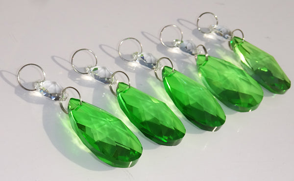 "Emerald Green Cut Glass Oval 37 mm 1.5"" Chandelier Crystals Drops Beads Droplets 6"