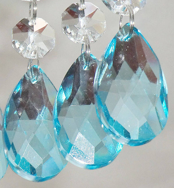 "1 Aqua Light Teal Blue Cut Glass Oval 37 mm 1.5"" Chandelier Crystals Drops Beads Droplets Light Parts 3"