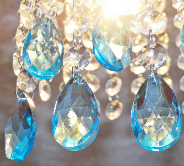 "1 Aqua Light Teal Blue Cut Glass Oval 37 mm 1.5"" Chandelier Crystals Drops Beads Droplets Light Parts 5"